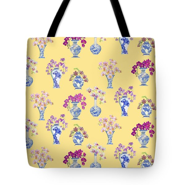 Oriental Vases With Orchids Tote Bag by Kimberly McSparran