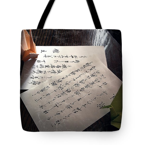 Origami And Calligraphy On Rice Paper Tote Bag by Daniel Hagerman