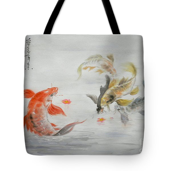Original Animal  Oil Painting Art- Goldfish Tote Bag