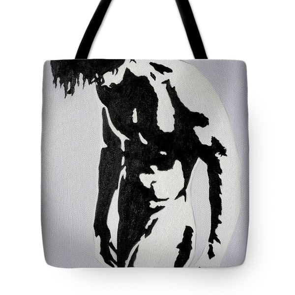 Original Black An White Acrylic Paint Man Gay Art -male Nude#16-2-4-17 Tote Bag