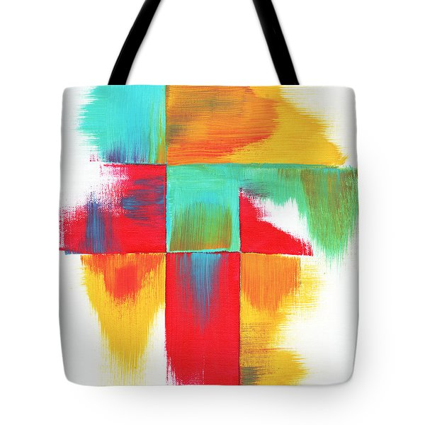 Original Bold Colorful Abstract Painting Indecisive By Madart Tote Bag by Megan Duncanson