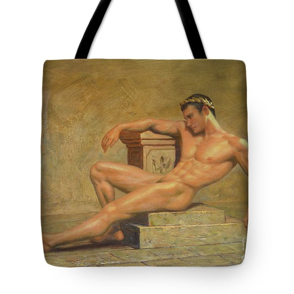 Original Classic Oil Painting Gay Man Body Art Male Nude -023 Tote Bag
