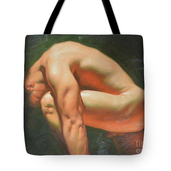 Original Classic Oil Painting Man Body Art-male Nude -042 Tote Bag