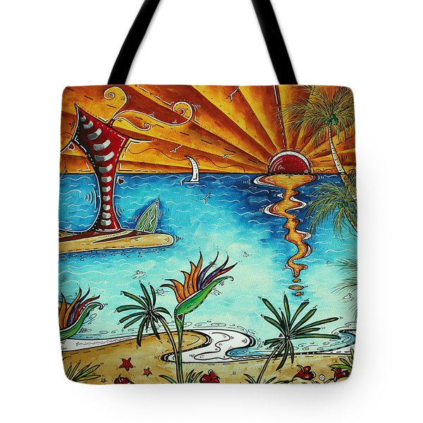 Original Coastal Surfing Whimsical Fun Painting Tropical Serenity By Madart Tote Bag by Megan Duncanson