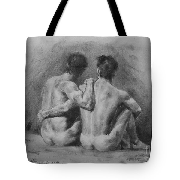 Original Drawing Sketch Charcoal Chalk Male Nude Gay Man Art Pencil On Paper By Hongtao Tote Bag