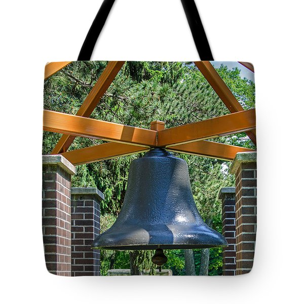 Tote Bag featuring the photograph Original Fire Bell From The Superior Fire Dept In Wisconsin  1892  by Susan  McMenamin