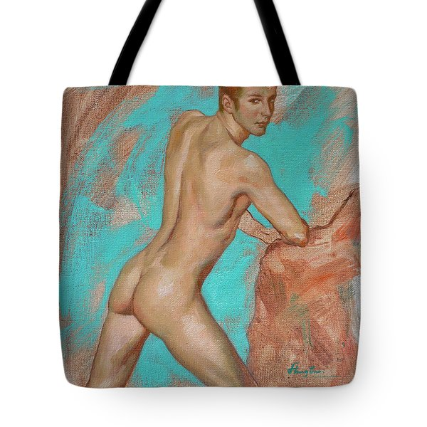Original Impression Man Body Oil Painting Male Nude On Canvas#16-2-6-05 Tote Bag