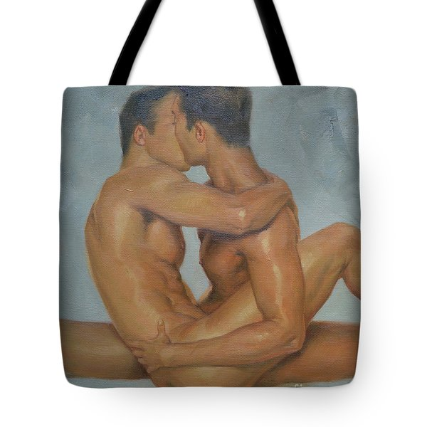 Original Man Oil Painting Gay Body Art- Two Male Nude On Canvas Tote Bag