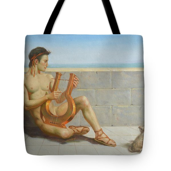 Original Oil Painting Gay Man Art-male Nude And Rabbit#16-02-5-41 Tote Bag