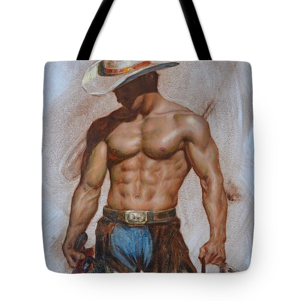 Original Oil Painting Gay Man Body Art-cowboy#16-2-5-19 Tote Bag