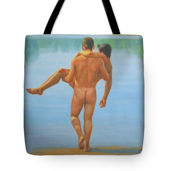 Original Oil Painting Man Body Art -male Nude By The Pool -073 Tote Bag
