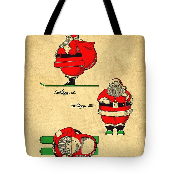 Tote Bag featuring the digital art Original Patent For Santa On Skis Figure by Edward Fielding