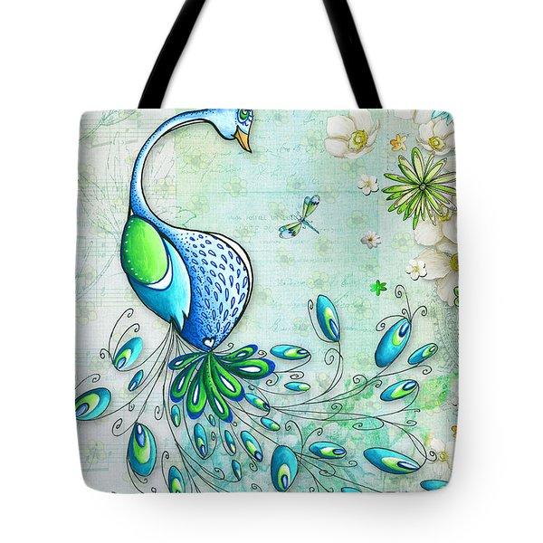 Original Peacock Painting Bird Art By Megan Duncanson Tote Bag