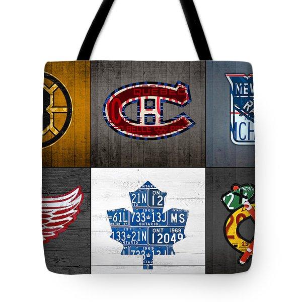 Original Six Hockey Team Retro Logo Vintage Recycled License Plate Art Tote Bag by Design Turnpike