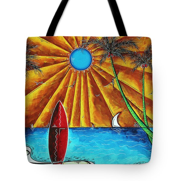 Original Tropical Surfing Whimsical Fun Painting Waiting For The Surf By Madart Tote Bag by Megan Duncanson