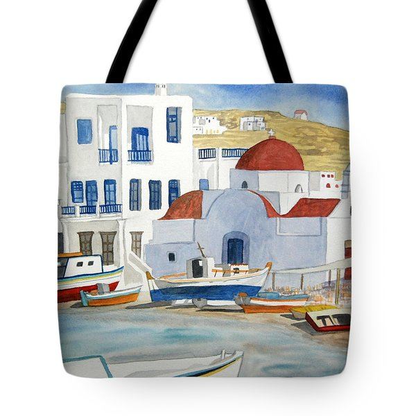 Watercolor - Mykonos Greece Detail Tote Bag