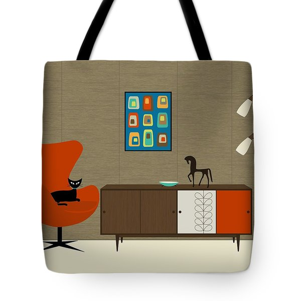 Tote Bag featuring the digital art Orla Kiely Cabinet by Donna Mibus