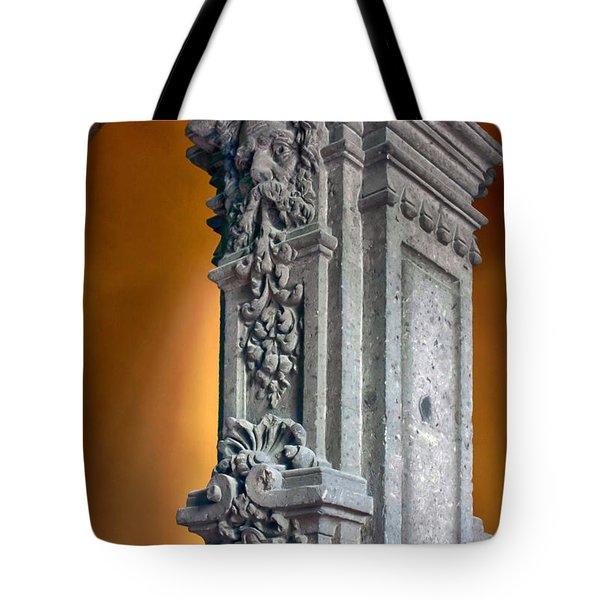 Ornate Mexican Stone Column Tote Bag by Lynn Palmer