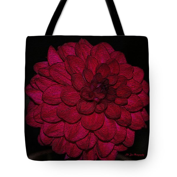 Ornate Red Dahlia Tote Bag