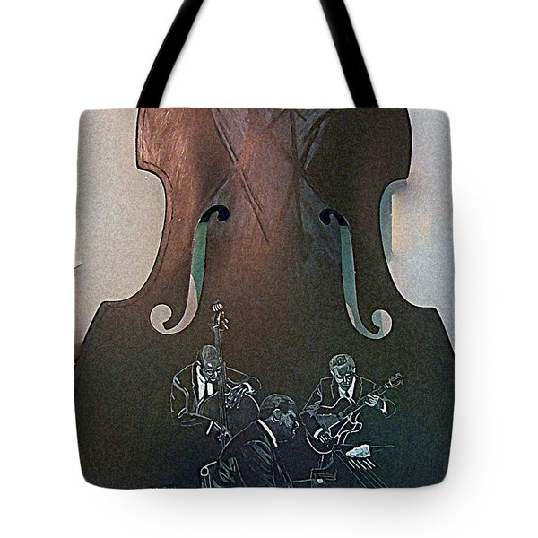 Tote Bag featuring the painting Oscar Peterson Trio by Richard Le Page