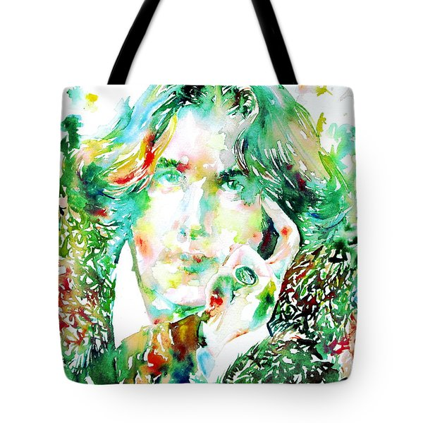 Oscar Wilde Watercolor Portrait.2 Tote Bag by Fabrizio Cassetta