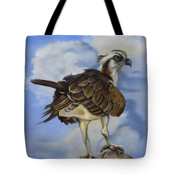 Tote Bag featuring the painting Osprey And A Mullet by Phyllis Beiser