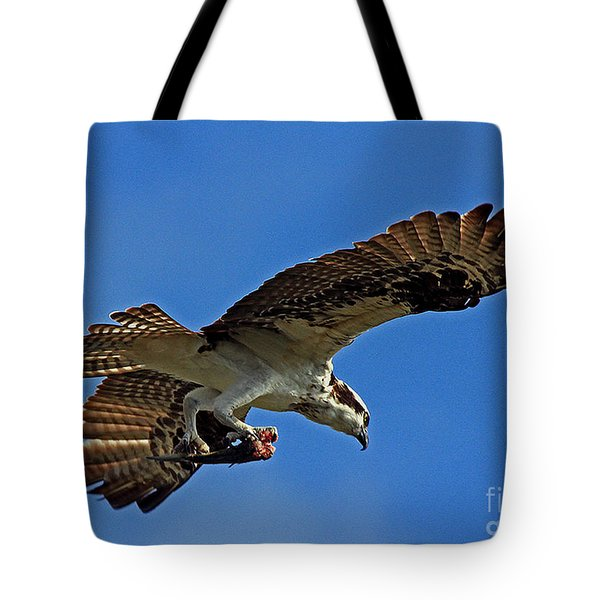 Tote Bag featuring the photograph Osprey Delivery by Larry Nieland