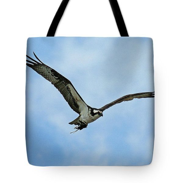 Osprey Nest Building Tote Bag by Ernie Echols
