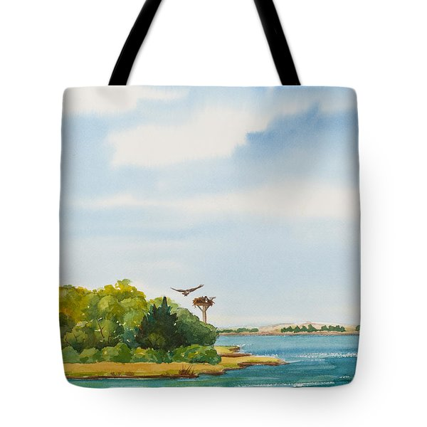 Ospreys On The Vineyard Watercolor Painting Tote Bag by Michelle Wiarda
