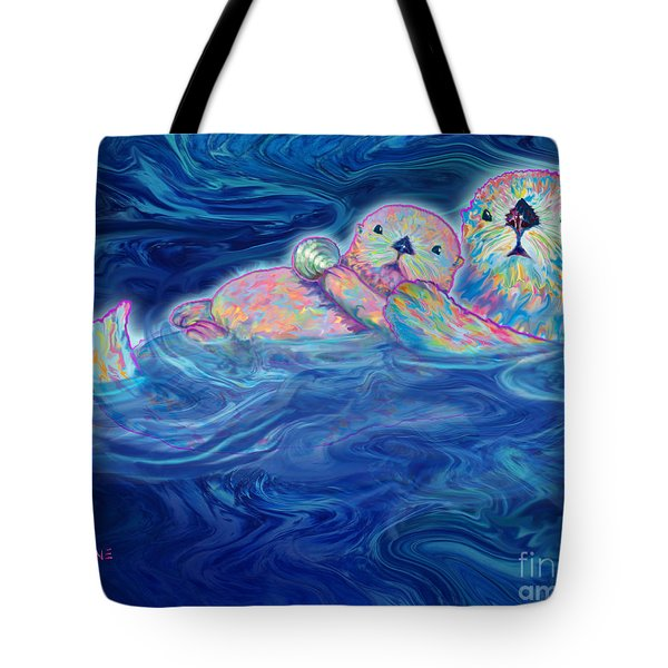 Tote Bag featuring the mixed media Otter Family by Teresa Ascone