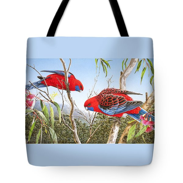 Our Beautiful Home - Crimson Rosellas Tote Bag