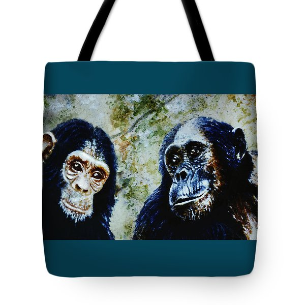 Tote Bag featuring the painting Our Closest Relatives by Hartmut Jager
