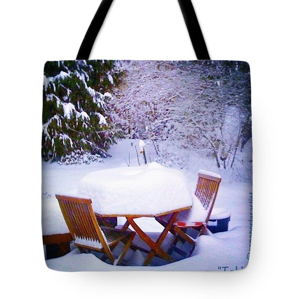 Our Deck Table In The Snow Tote Bag