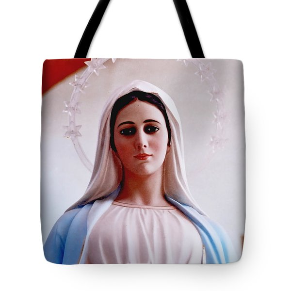 Our Lady Queen Of Peace Statue Tote Bag