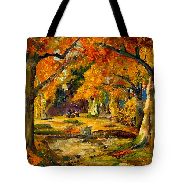 Tote Bag featuring the painting Our Place In The Woods by Mary Ellen Anderson