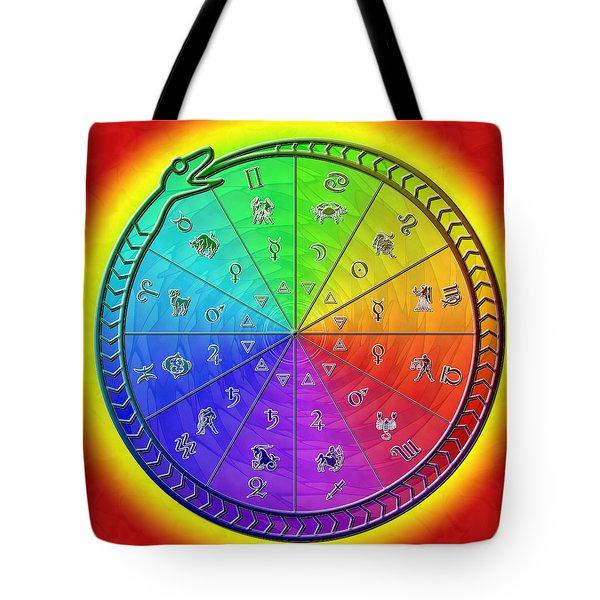 Ouroboros Alchemical Zodiac Tote Bag by Derek Gedney