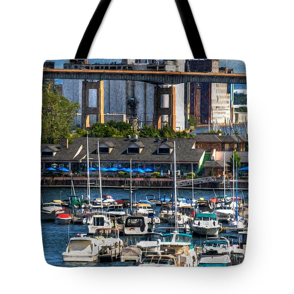 Out At The Harbor V3 Tote Bag