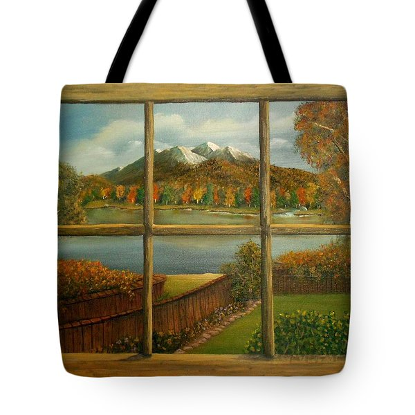 Out My Window-autumn Day Tote Bag by Sheri Keith
