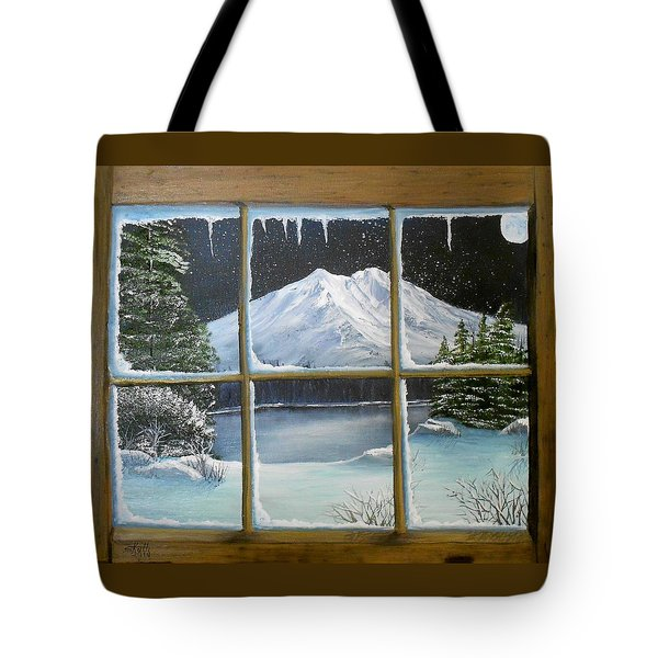 Out My Window-bright Winter's Night Tote Bag by Sheri Keith