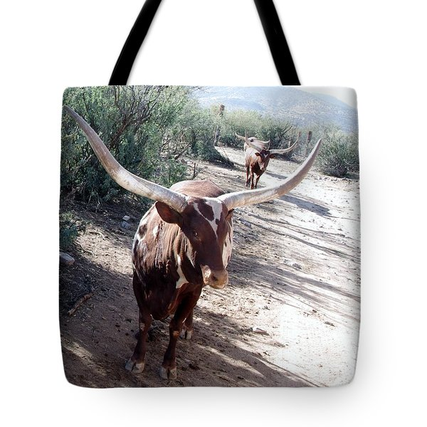 Out Of Africa  Long Horns Tote Bag