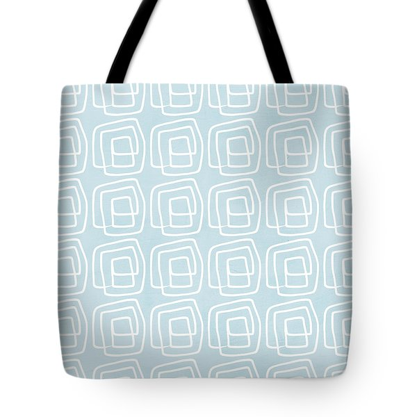 Out Of The Box Blue And White Pattern Tote Bag by Linda Woods