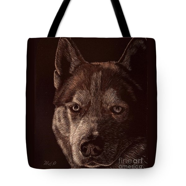 Out Of The Darkness Portrait Of A Husky Tote Bag