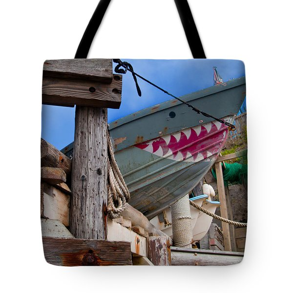 Out Of The Water - There's A Shark Tote Bag by Bill Gallagher