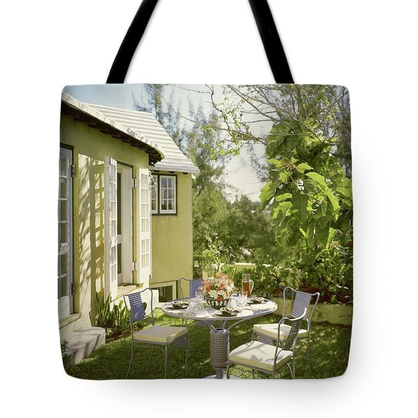 Outdoor Furniture At Shoreland House Tote Bag