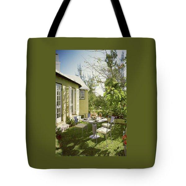 Outdoor Furniture At Shoreland House Tote Bag