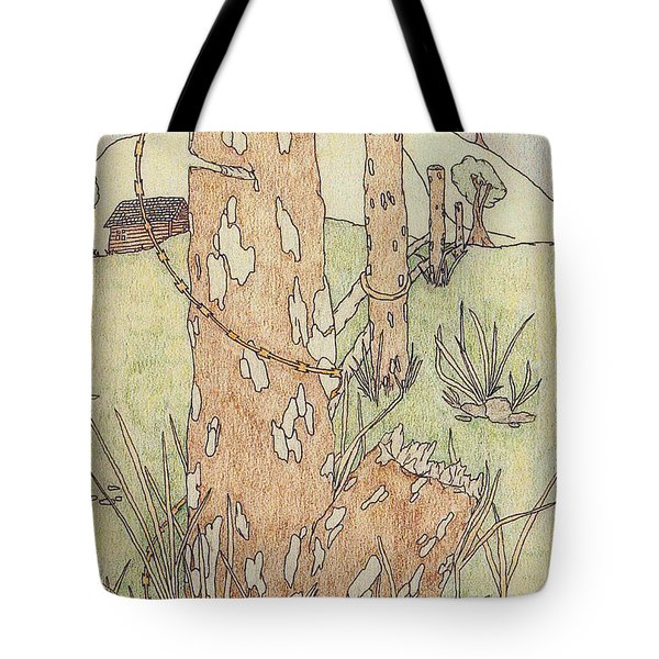 Tote Bag featuring the drawing Outdoors by Jason Girard
