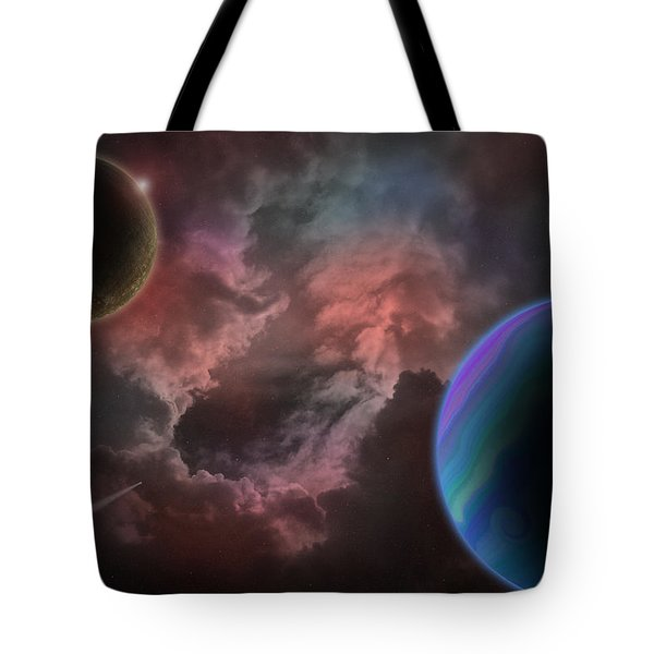 Outer Space Mystery Digital Painting Tote Bag by Georgeta Blanaru