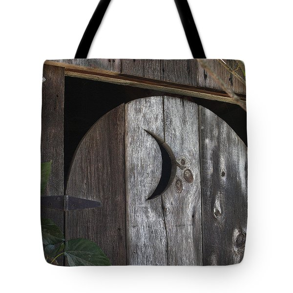 Tote Bag featuring the photograph Outhouse Door by Art Block Collections