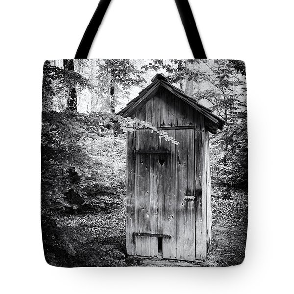 Outhouse In The Forest Black And White Tote Bag