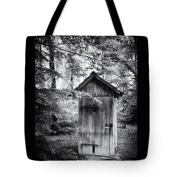 Outhouse In The Forest Black And White Tote Bag by Matthias Hauser